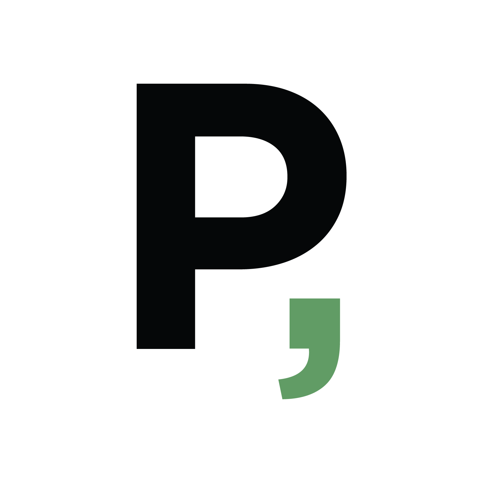 "The character ""P"" followed by a comma"